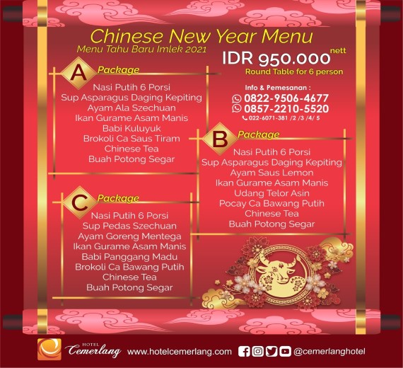 Chinese New Year Menu 2021 for 6 person
